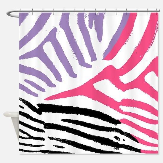 Colorful Zebra Stripe Shower Curtain
