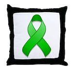 Green Awareness Ribbon Throw Pillow
