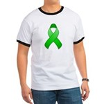 Green Awareness Ribbon Ringer T