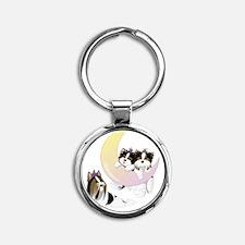 Whimsical Biewer Terrier Round Keychain