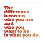 The Difference (red/orange) Square Car Magnet 3