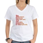 The Difference (red/orange) Women's V-Neck T-Shirt