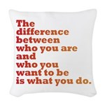 The Difference (red/orange) Woven Throw Pillow