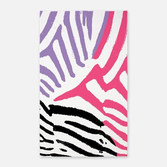 Colorful Zebra Stripe 3'x5' Area Rug