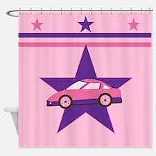 Pink Racecar Design Shower Curtain