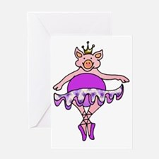 Plump Dancing Pig in Purple Tutu Greeting Card