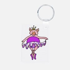 Plump Dancing Pig in Purpl Keychains