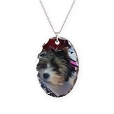Biewer Terrier Puppy Necklace Oval Charm