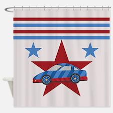 Blue Racecar Design Shower Curtain