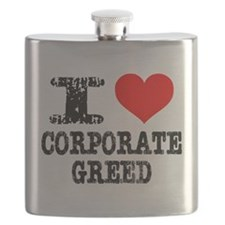 I Heart Corporate Greed Flask