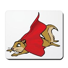 Flying Super Squirrel with Red Cape Mousepad
