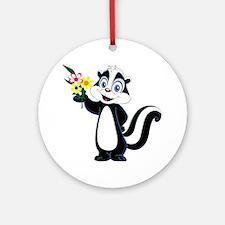 Friendly Skunk with Flower Bouquet Round Ornament