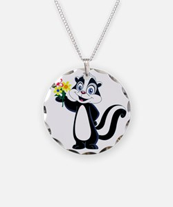 Friendly Skunk with Flower B Necklace Circle Charm