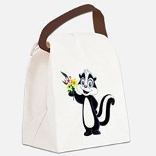Friendly Skunk with Flower Bouque Canvas Lunch Bag