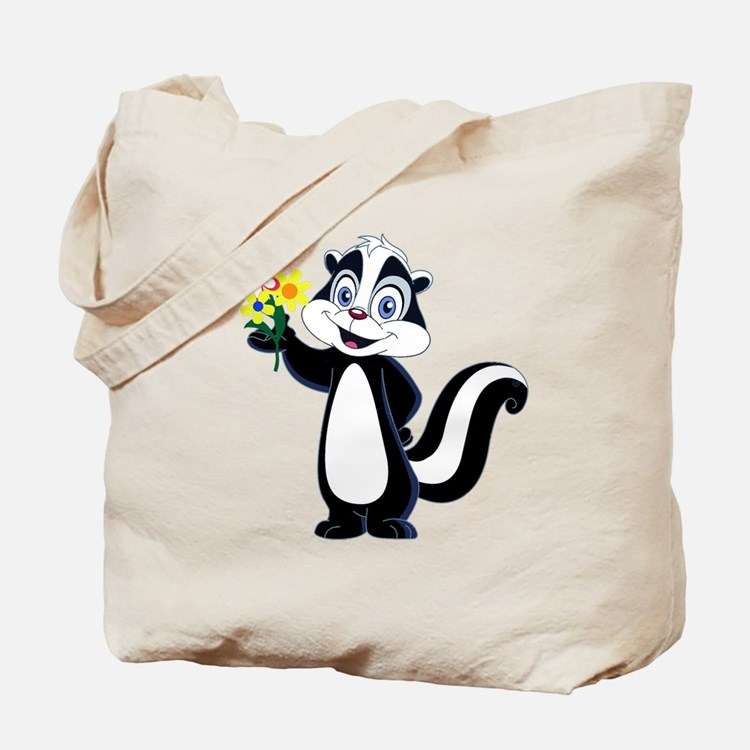 Friendly Skunk with Flower Bouquet Tote Bag