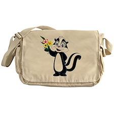 Friendly Skunk with Flower Bouquet Messenger Bag