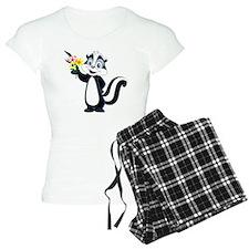 Friendly Skunk with Flower  Pajamas