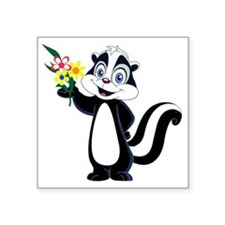"Friendly Skunk with Flower  Square Sticker 3"" x 3"""