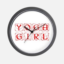 yoga-girl-kon-red Wall Clock