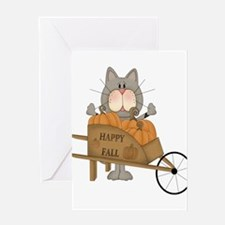 Cat with wheelbarrow of pumpkins Greeting Cards