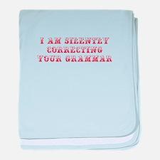 silently-grammar-MAX-DARK-RED baby blanket