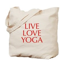 LIVE-LOVE-YOGA-OPT-RED Tote Bag