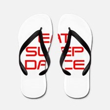 eat-sleep-dance-saved-red Flip Flops