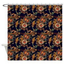 Red and Orange Paisley on Blue Shower Curtain
