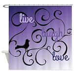 Live Laugh Lovel Bird and Swirl Design Shower Curt