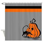 Pumpkin and Black Cat Shower Curtain
