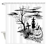 Spooky Halloween Graveyard Shower Curtain
