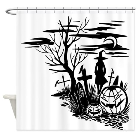 Spooky Halloween Graveyard Shower Curtain By Stolenmomentsph