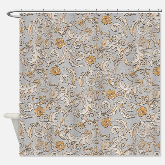 Elegant Gold and Silver Scrolls Shower Curtain