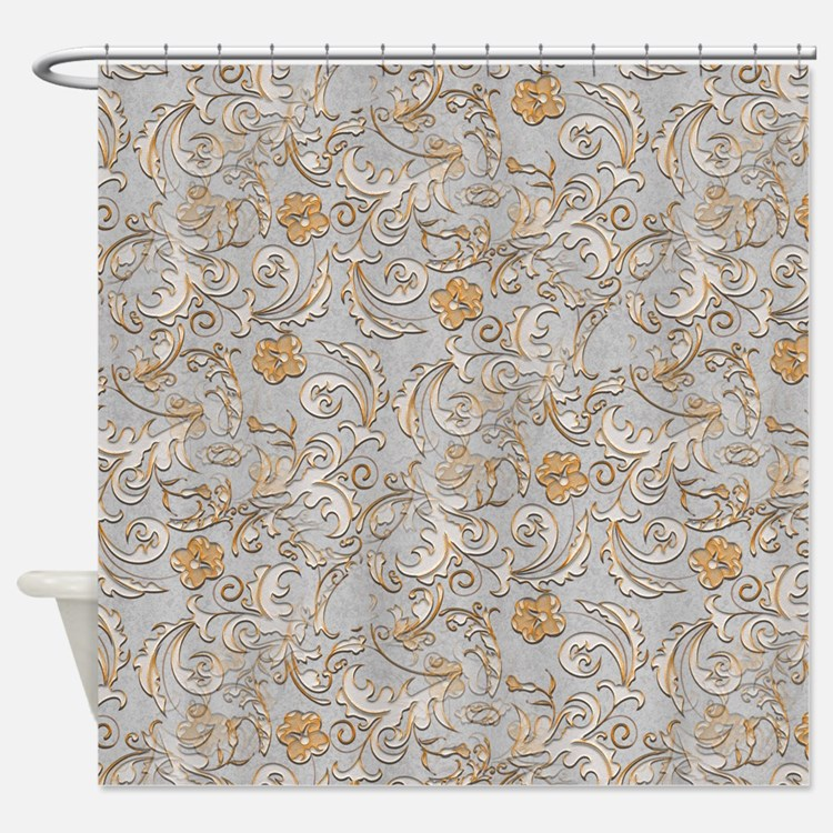 Scroll Pattern Shower Curtains Scroll Pattern Fabric Shower