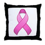 Hot Pink Awareness Ribbon Throw Pillow