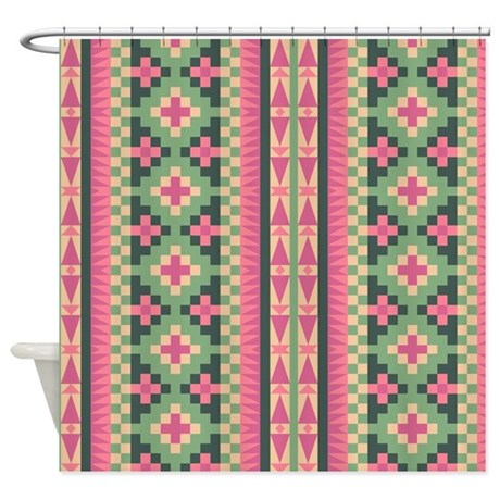 pink and green aztec pattern shower curtain by