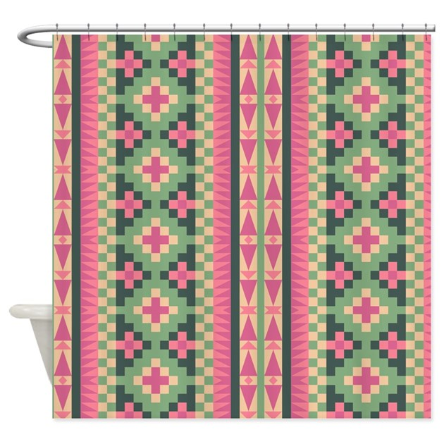 pink and green aztec pattern shower curtain by graphicallusions. Black Bedroom Furniture Sets. Home Design Ideas