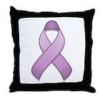 Lavender Awareness Ribbon Throw Pillow