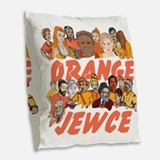 Orange Jewce- Crowd Burlap Throw Pillow
