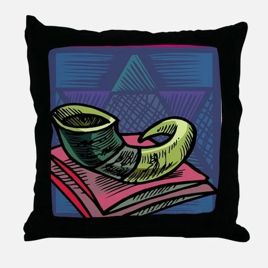 Jewish New year Card-Shofar 2 Throw Pillow