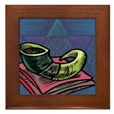 Jewish New year Card-Shofar 2 Framed Tile