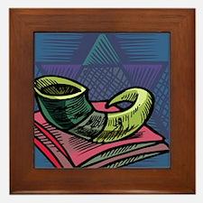 Jewish New year Card-Shofar 2 Framed Tile