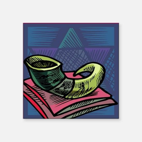 """Jewish New year Card-Shofar Square Sticker 3"""" x 3"""""""