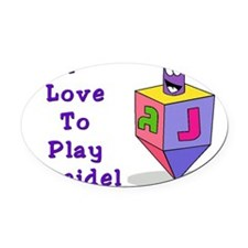 I Love To Play Dreidel Purple Oval Car Magnet