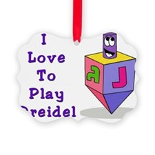 I Love To Play Dreidel Purple Picture Ornament