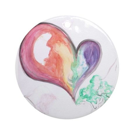 Watercolor Heart Round Ornament