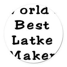 Worlds Best Latke Maker Black Round Car Magnet