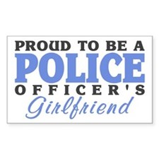 Proud Police Girlfriend Rectangle Decal