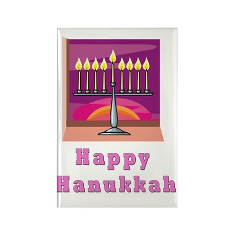 Happy Hannukah Pink Rectangle Magnet