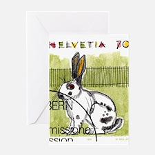 1991 Switzerland Rabbit Postage Stamp Greeting Car